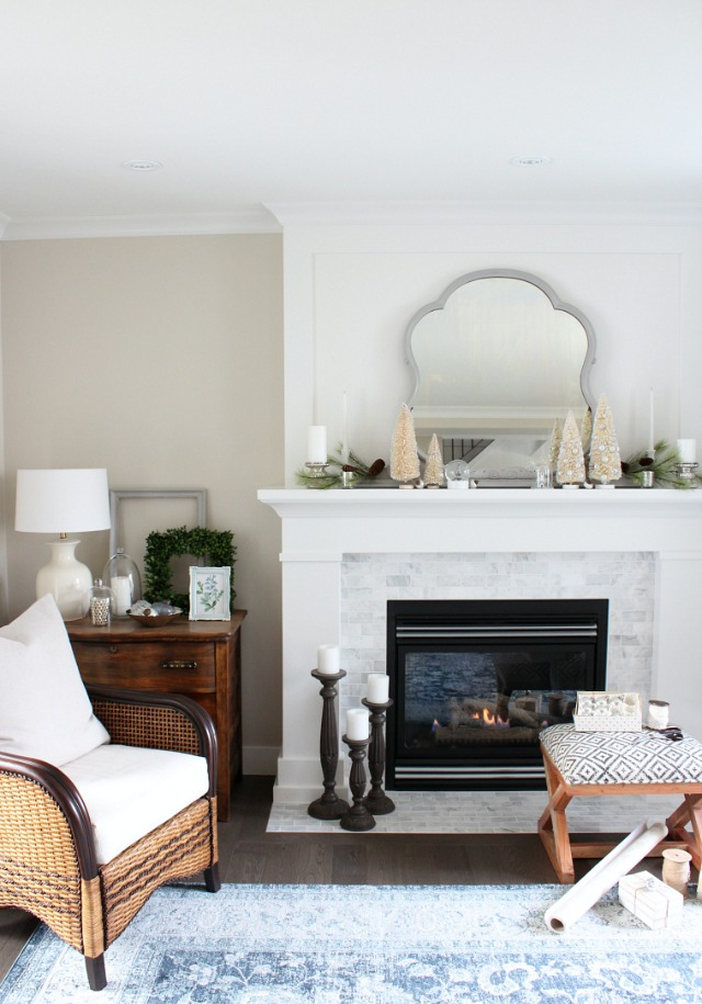 Winter Mantel Decor - White, Green and Silver Christmas Decorations
