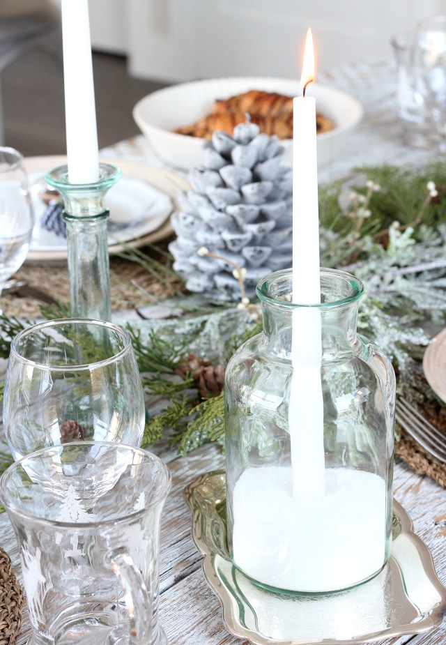 DIY Glass and Snow Candle Holders for Christmas Table
