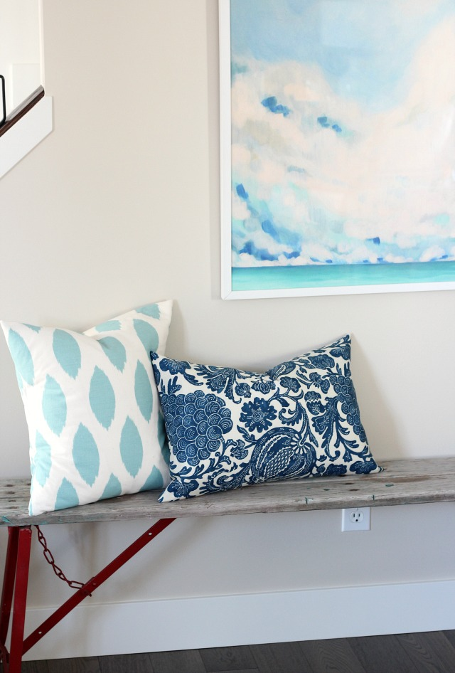 Christmas Decorating Ideas - DIY Pillow Covers with Oversized Abstract Art Above Red Vintage Bench