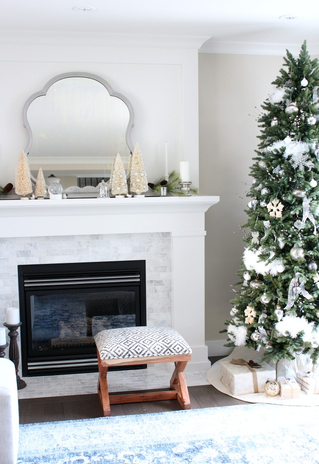 Christmas Home Tour - Blue and White Living Room with Winter White Christmas Decor