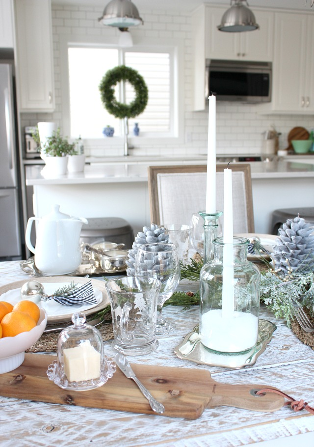 Christmas Home Tour - Winter Wonderland Kitchen Decorations - White Farmhouse Style Kitchen