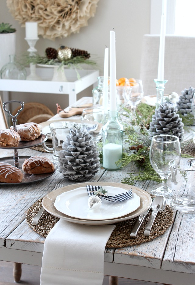 White Christmas Home Tour - Winter Tablescape Decorating Ideas by Satori Design for Living