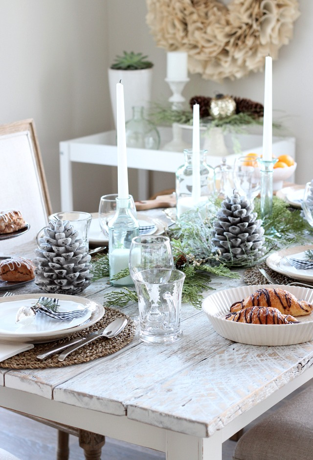 Christmas Table Setting for Breakfast or Brunch - Nature-inspired Holiday Tablescape by Satori Design for Living