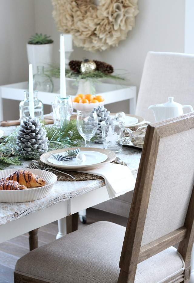 Holiday Decor Ideas - Simple Neutral Christmas Tablescape with Whitewashed Table and Linen Upholstered Chairs by Satori Design for Living
