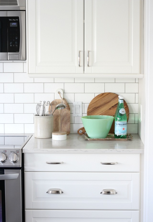 Simple Christmas Kitchen Decor - Styling the Kitchen with a Vintage Jadeite Bowl and Silver Tray