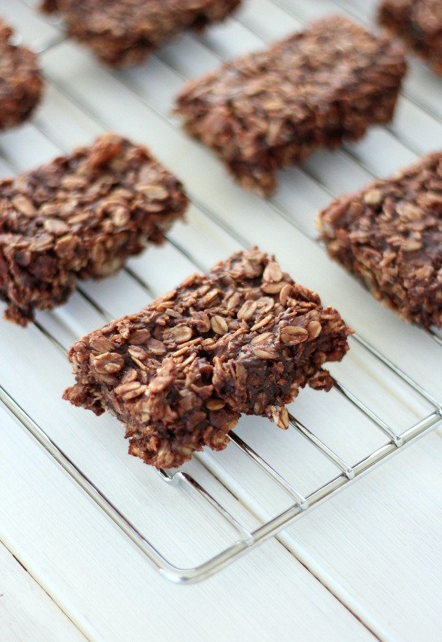 Chocolate Oat Bars on Cooling Rack