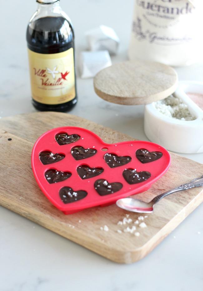 Chocolate Truffle Valentine Hearts with Fleur de Sel