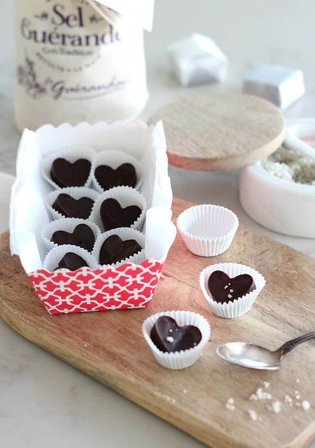 Decadent chocolate truffle hearts with fleur de sel to hand out to family and friends on Valentine's Day