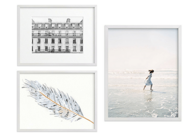 Hanging a Living Room Art Gallery Wall - Collection of White Framed Art Prints