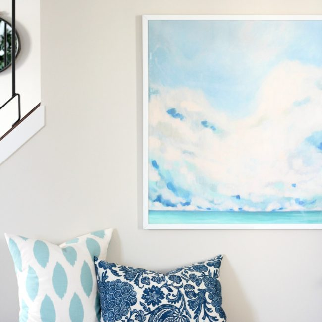 Decorating the Hallway - Oversized White Blur Art from Minted - Blue and White Abstract Art
