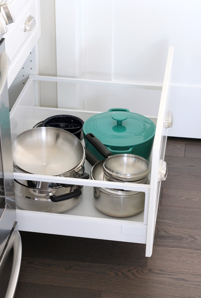 Kitchen Storage Ideas - Oversized Drawer for Pots and Pans - White IKEA Kitchen
