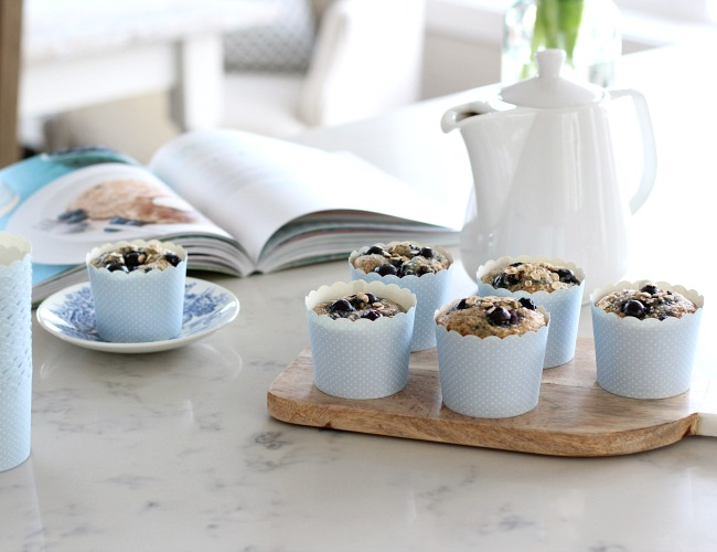 Blueberry Oat Muffins - A Delicious breakfast option that's packed full of protein, fibre and antioxidants.