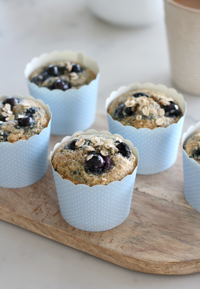 Blueberry Oat Muffins - A Delicious breakfast option that's packed full of protein, fibre and other nutrients.