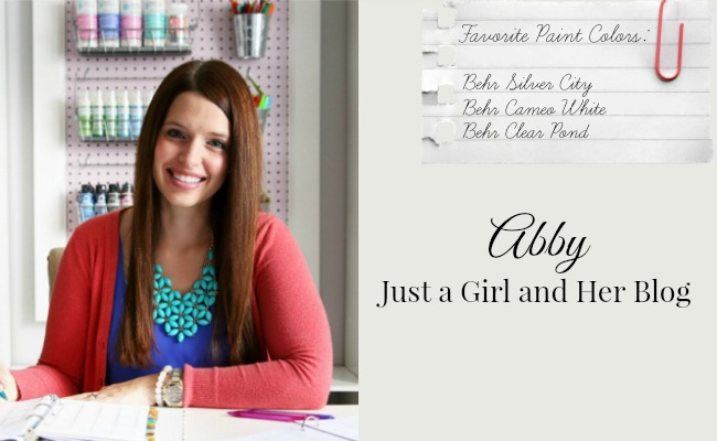 Favorite Paint Colors - Behr Silver City, Behr Cameo White, Behr Clear Pond - Abby from Just a Girl and Her Blog