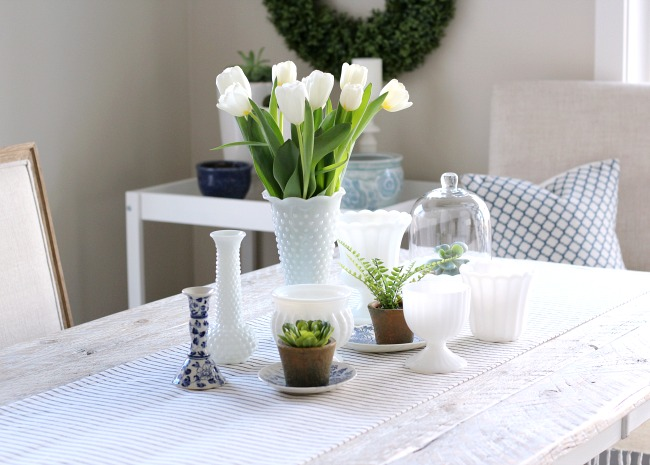 Fresh Spring Table Centerpiece Using Tulips, Thrift Shop Milkglass Vases, Greenery and More