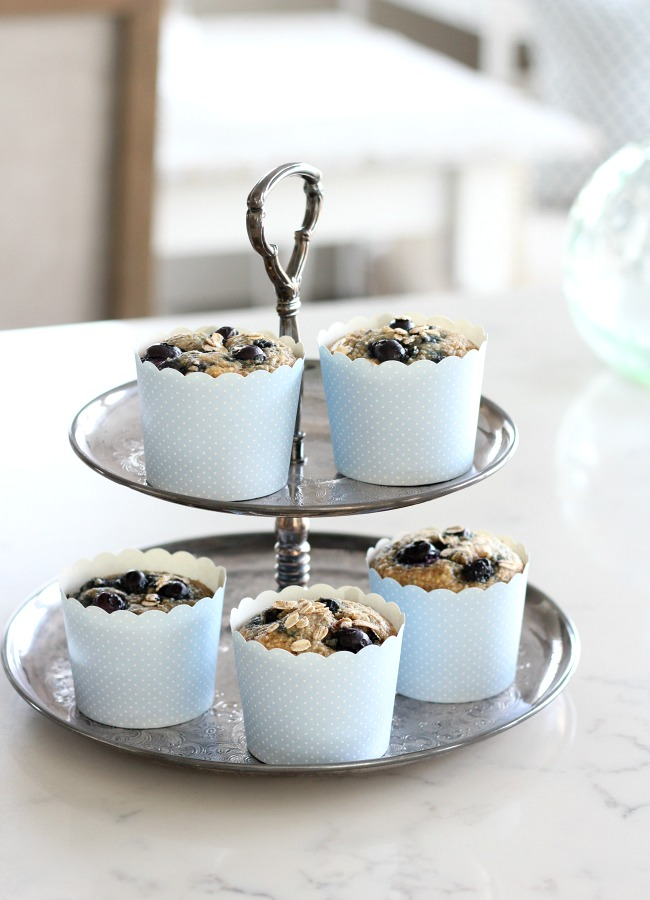 Spring Kitchen Tour - Homemade Gluten-free Blueberry Oat Muffins on Silver Tiered Cake Stand