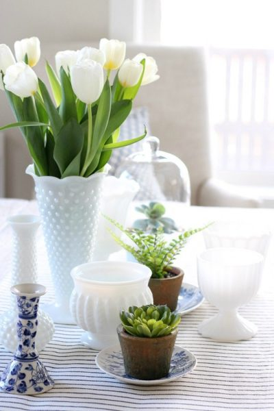 Decorating the Table for Spring with Milk Glass and Greenery