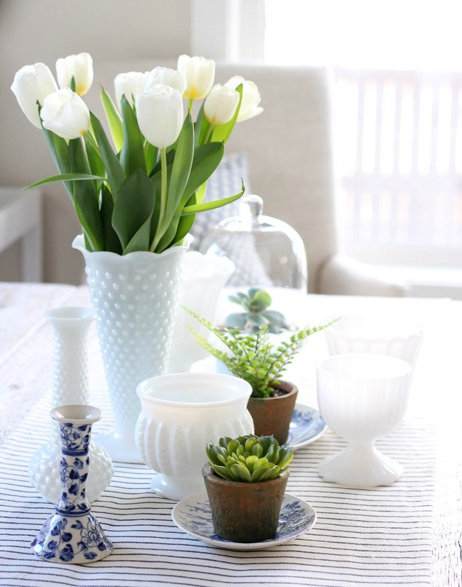 Spring Table with Vintage Milk Glass Vases, Tulips and Greenery