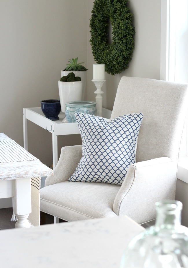 Spring Decor in the Kitchen - Blue and White Table Decor - Linen Dining Chair