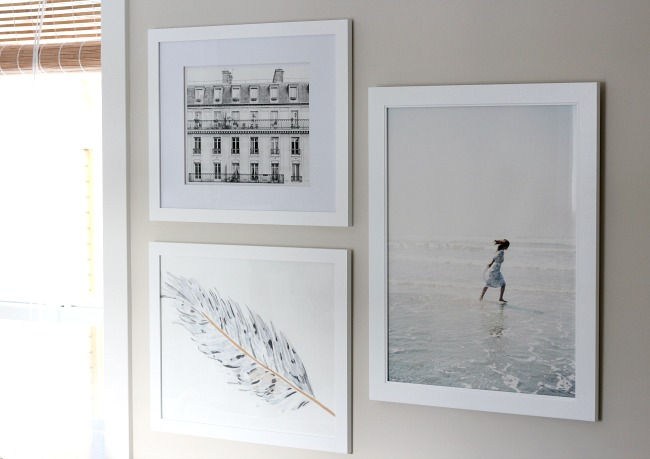 White Framed Art Collection - Hanging Art in the Living Room