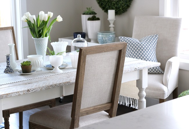 Spring Decorating Ideas - Blue and White Dining Table Decor with Touches of Greenery