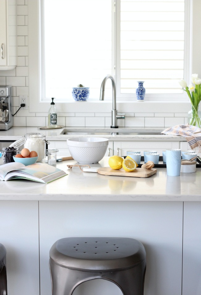 White IKEA Kitchen Decorated for Spring