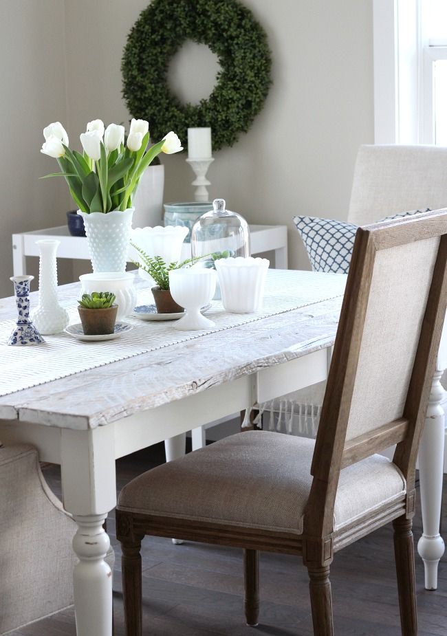 Spring Home Decor in the Kitchen - Greenery and Tulips along with a Milk Glass Collection