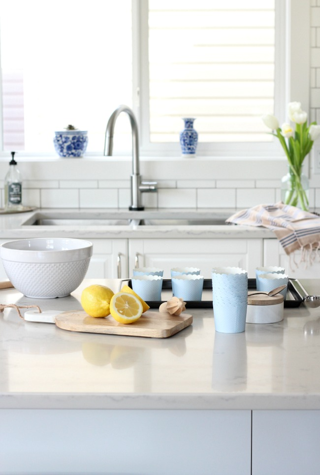 White IKEA Kitchen Decorated for Spring - Satori Design for Living