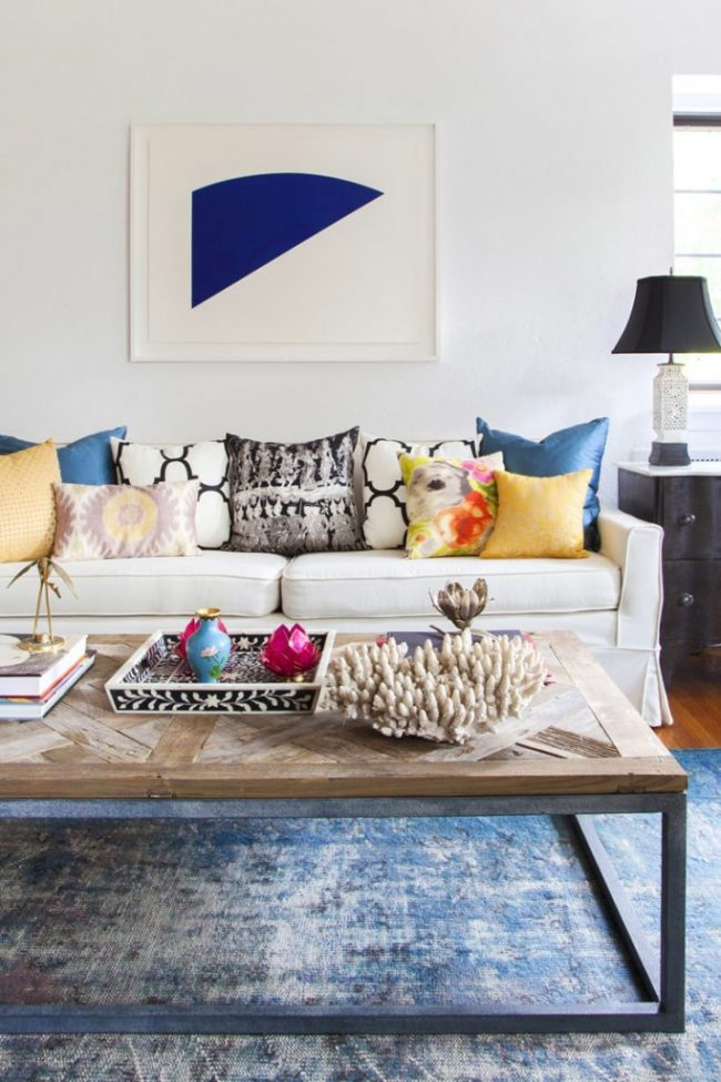 How to Style Pillows on the Sofa - Eclectic Pillows on White Sofa - Design Manifest