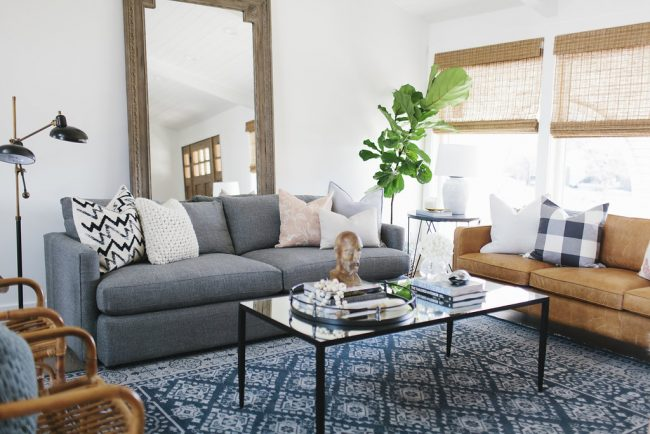 Mixing Throw Pillows on the Sofa - Living Room Design by House of Jade Interiors