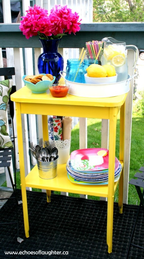 Side Table Makeover - Bright Yellow Outdoor Hostess Station by Echoes of Laughter