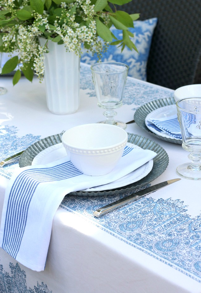 Blue and White Outdoor Tablescape with Milk Glass Vase - Satori Design for Living