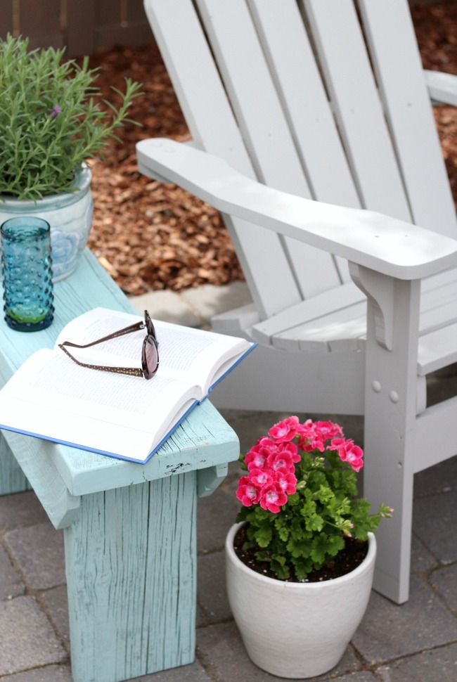 DIY Distressed Aqua Blue Outdoor Side Table or Bench with Grey Adirondack Chairs