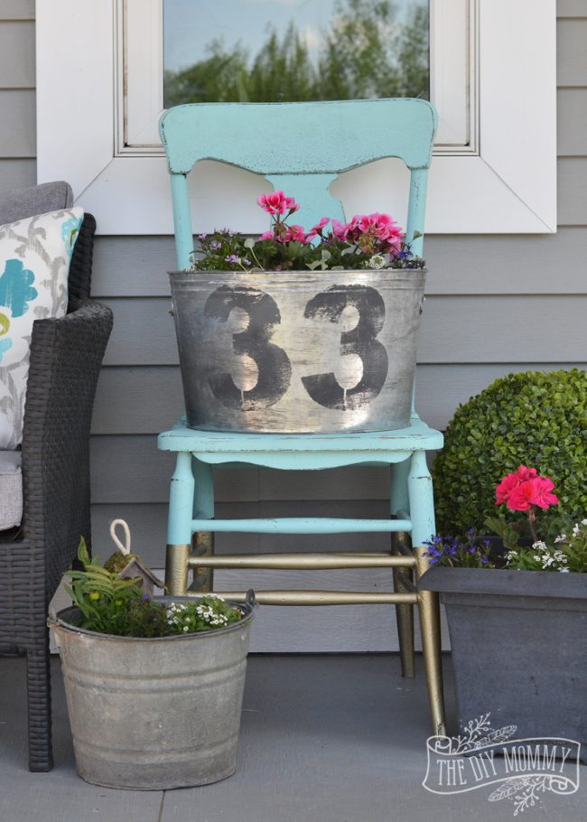 DIY Faux Galvanized Planter by The DIY Mommy