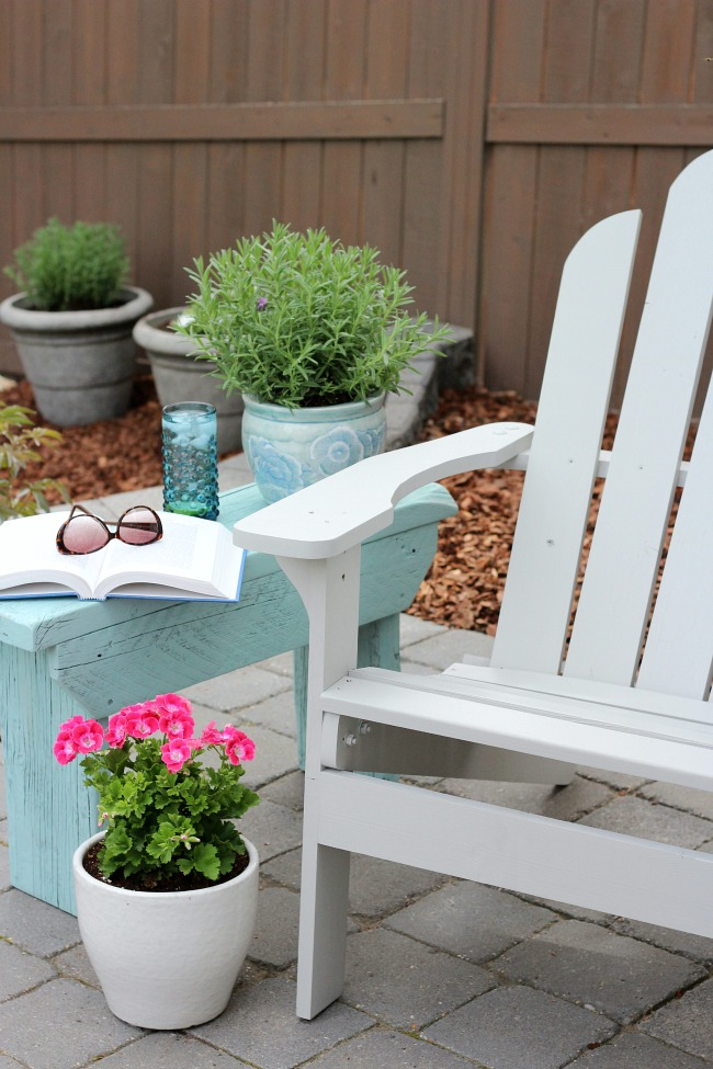 DIY Outdoor Side Table Using Reclaimed Wood - Aqua Blue Outdoor Paint by Behr Opal Silk