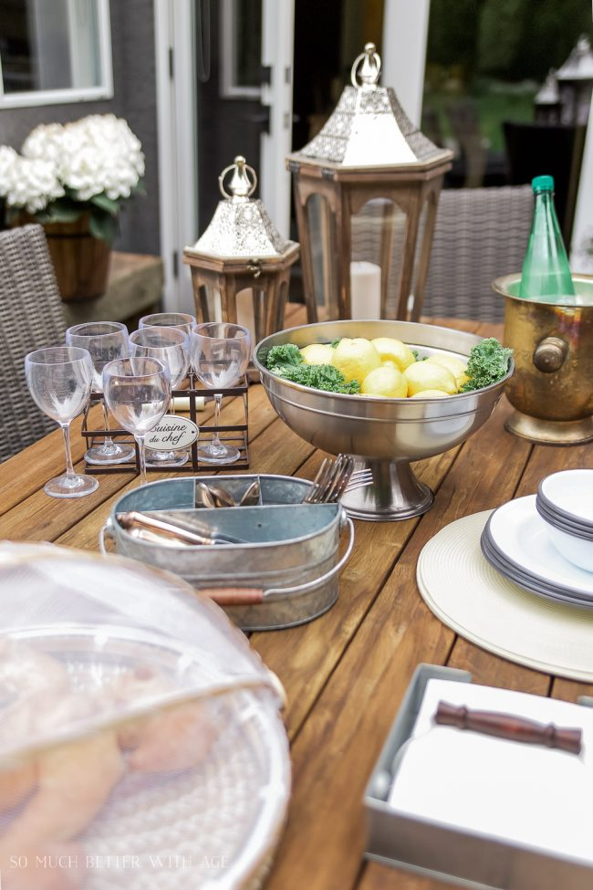 Beautiful Outdoor Living Spaces - French Vintage Style Outdoor Table Decor by So Much Better with Age
