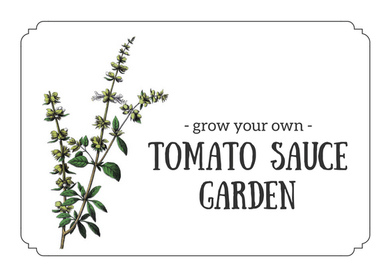 Grow Your Own Tomato Sauce Garden - Printable Card for Gift Basket