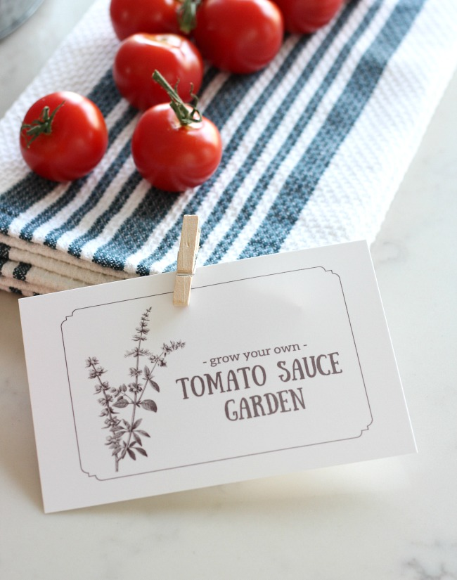 Grow Your Own Tomato Sauce Garden Printable Card for Gift Basket