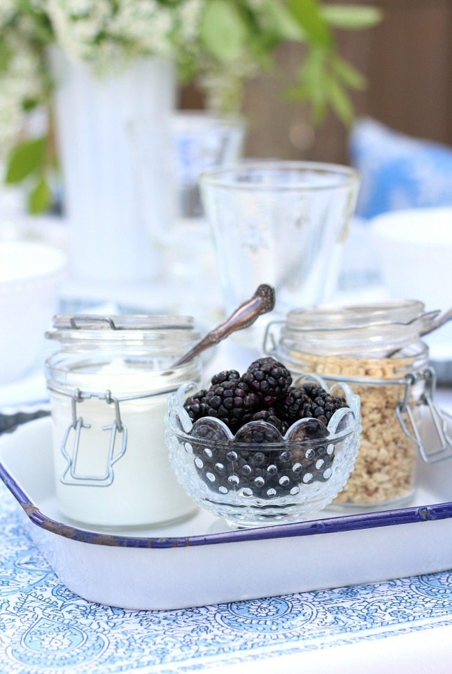 Yogurt, Berries and Granola in Jars on a Vintage Enamelware Tray