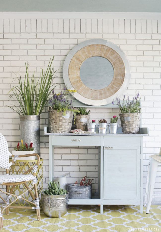 Painted Garden Bench with Potted Plants by The Blissful Bee