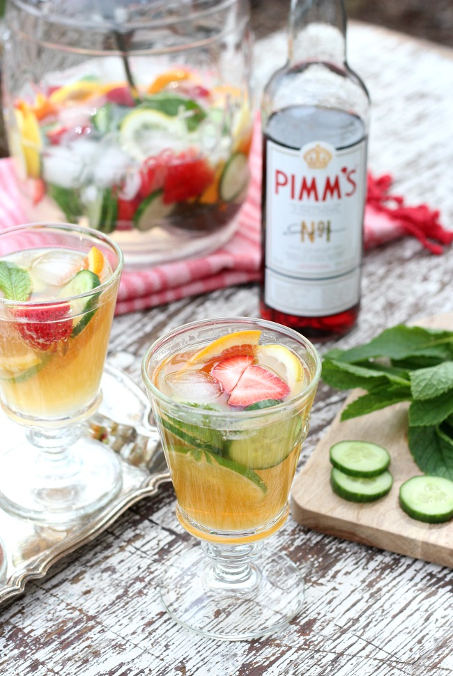 Pimm's Cocktail in a Large Glass Canister for Outdoor Entertaining - Pimms Jug Recipe