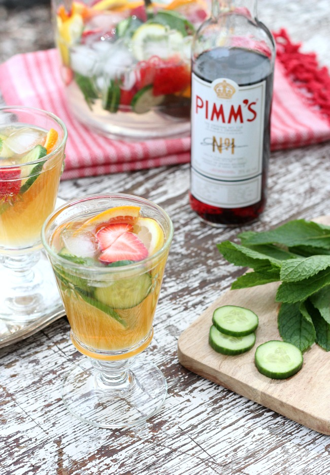 Pimm's Jug Summer Drink Recipe with Strawberries, Oranges, Cucumber and More