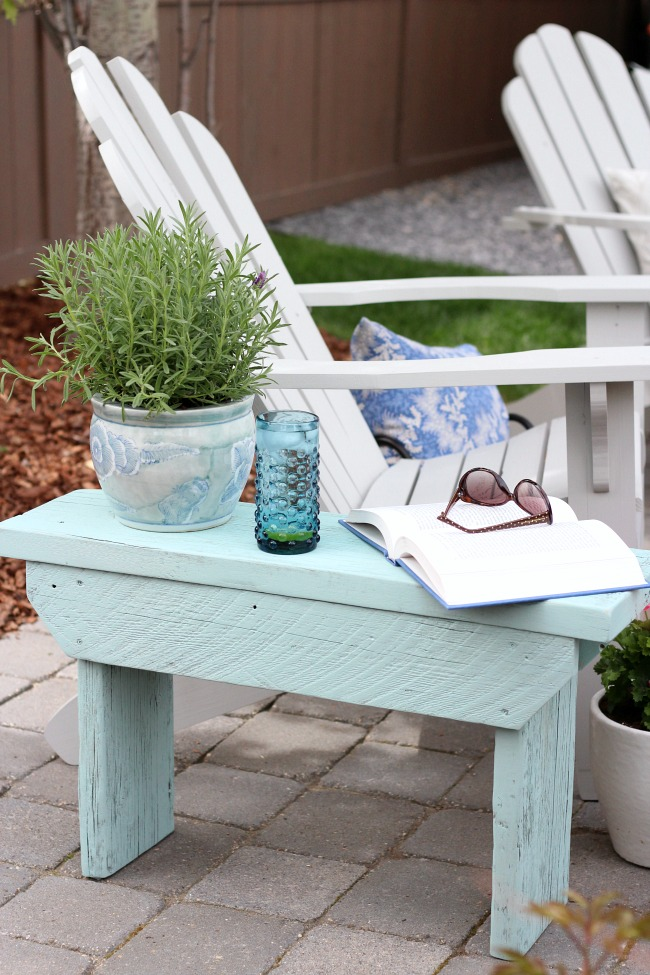 Salvaged Wood Outdoor Bench - Aqua Outdoor Side Table - Grey Adirondack Chairs