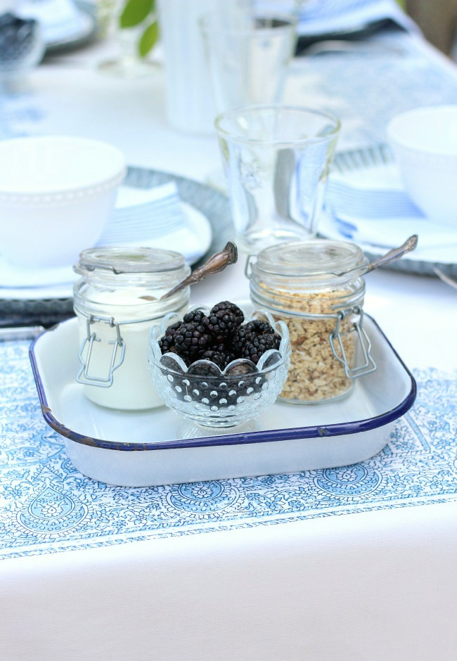 Vintage Enamelware Tray with Yogurt Parfaits for Summer Brunch
