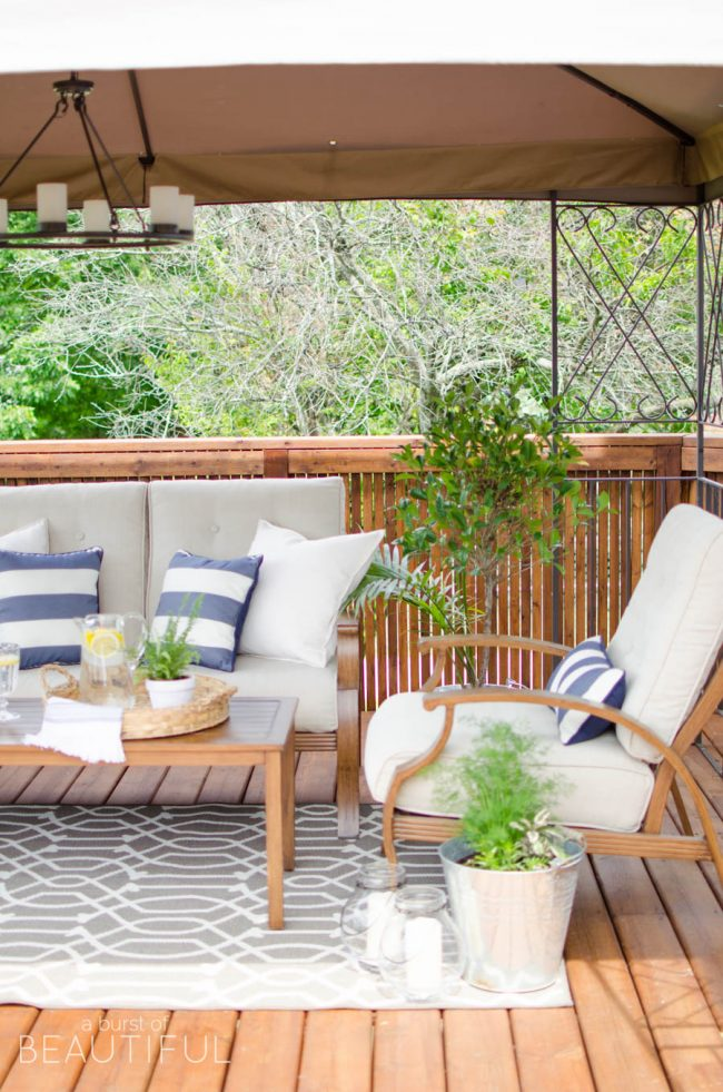 Beautiful Outdoor Living Spaces - How to revive a tired-looking deck by A Burst of Beautiful