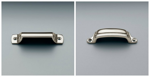 Classic White Kitchen Renovation Finishes - Drawer Cup Pulls - Polished Nickel