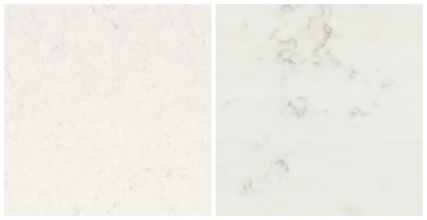 Classic White Kitchen Renovation Finishes - Marble Quartz Countertop Options - Frosty Carrina vs. TCE Stone 4005
