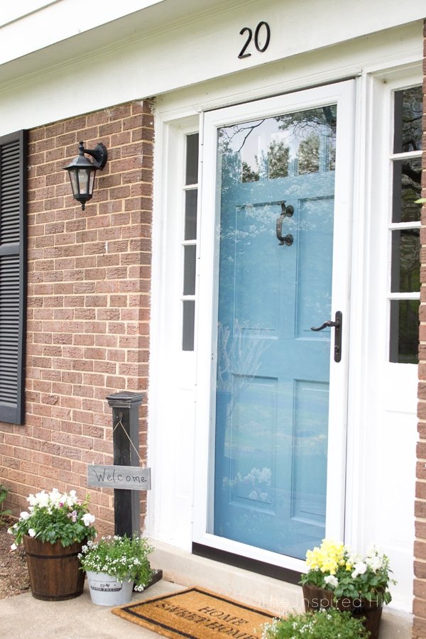 DecoArt Willamsburg Blue Front Door with Brick Siding by The Inspired Hive