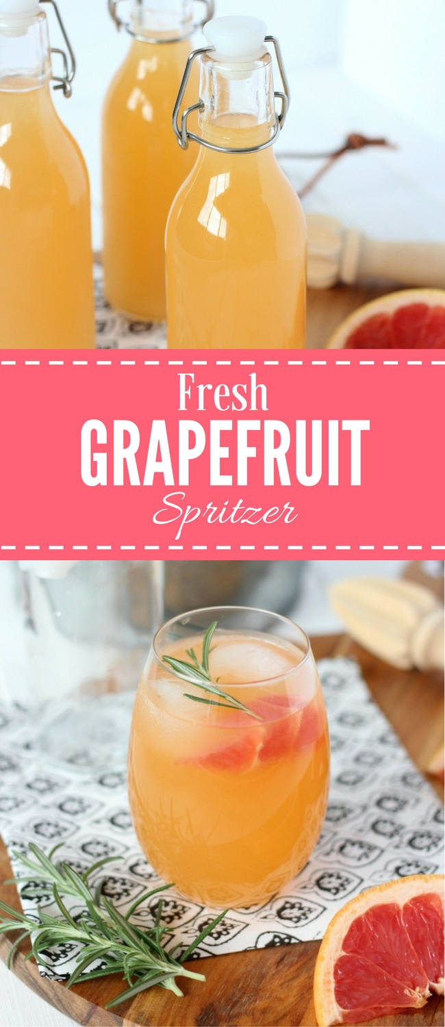 Try this delicious rosemary-infused freshly squeezed grapefruit spritzer. Refreshing and healthy summer cocktail recipe!