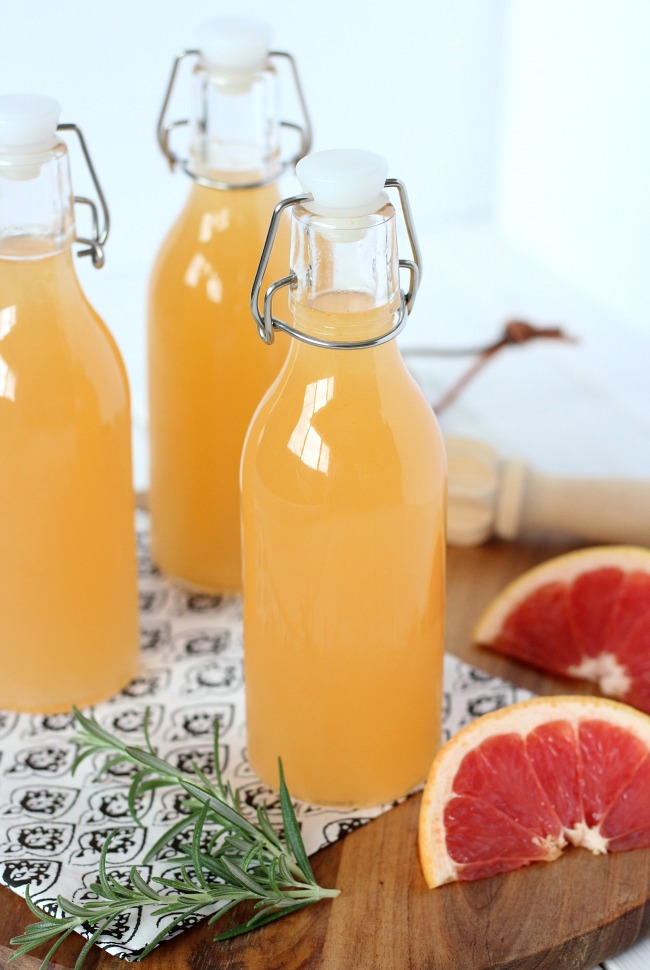 Homemade Freshly Squeezed Grapefruit Vodka Spritzer in a Bottle - Summer Drink Recipe